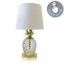Gold Pineapple Touch Lamp with White Shade