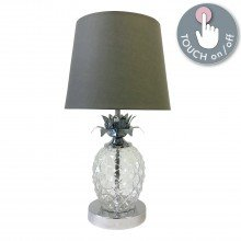 Chrome Pineapple Touch Lamp with Grey Shade