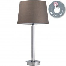 Chrome Column Touch Lamp with Grey Shade