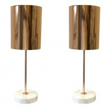 Set of 2 Copper and Marble Table Lights
