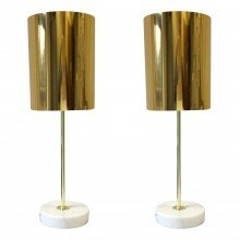 Set of 2 Gold and Marble Table Lights