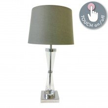 Chrome Plated Table Touch Light with Grey Cotton Fabric Shade