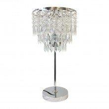 Chrome and Acrylic Crystal Jewelled Table Lamp
