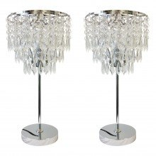 Set of 2 Chrome and Acrylic Crystal Jewelled Table Lamps