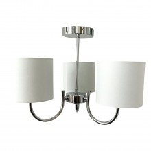 Chrome Ceiling Light with White Cotton Shades