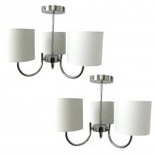 Set of 2 Chrome Ceiling Lights with White Cotton Shades