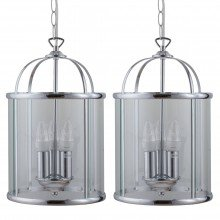 Set of 2 Polished Chrome Lantern Pendants
