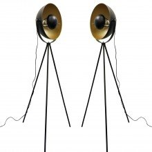 Pair of Retro Black Tripod Floor Lamps