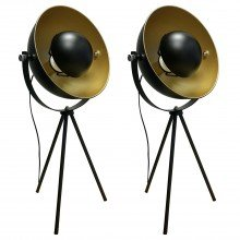 Pair of Retro Black Tripod Table Lamps