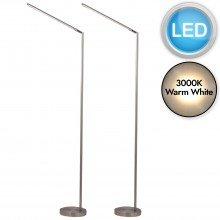 Set of 2 Satin Nickel LED Adjustable Reading Lights