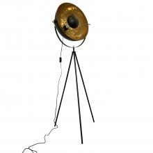 Black Tripod Studio Lamp with Gold Leaf Shade