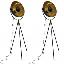 Set of 2 Black Tripod Studio Lamps with Gold Leaf Shades