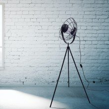 Black Tripod Studio Lamp with Cage Shade