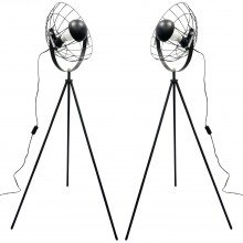 Pair of Black Tripod Studio Lamps with Cage Shades