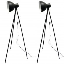 Set of 2 Black Tripod Studio Floor Lamps