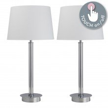 Set of Chrome Column Touch Lamps with White Shades