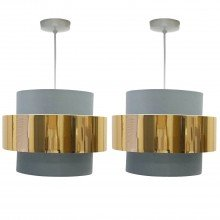 Pair of Grey with Copper Band 2 Tier Light Shades