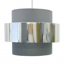 Grey with Chrome Band 2 Tier Light Shade
