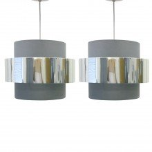Pair of Grey with Chrome Band 2 Tier Light Shades