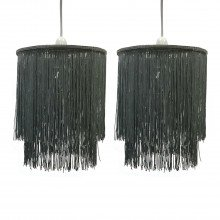Pair of Grey 2 Tier Tassel Light Shades