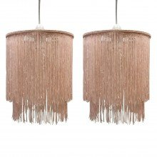 Pair of Pink 2 Tier Tassel Light Shades