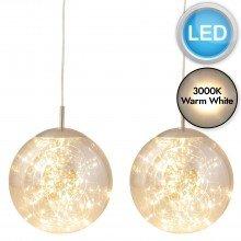 Set of 2 Nero - Smoked Glass LED Pendants