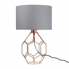 Geometric Copper 42cm Lamp with Grey Shade