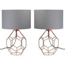 Set of 2 Geometric Copper Lamps with Grey Shades