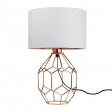 Geometric Copper 42cm Lamp with White Shade