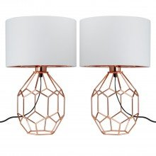 Set of 2 Geometric Copper Lamps with White Shades