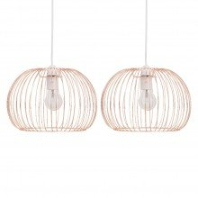 Set of 2 Copper Wire Easy Fit Light Shades