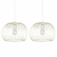 Set of 2 Satin Brass Wire Easy Fit Light Shades