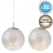 Set of 2 Nero - Clear Glass LED Pendants