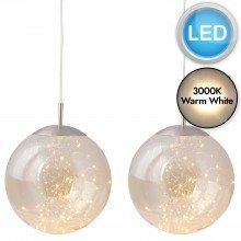 Set of 2 Nero - Amber Glass LED Pendants