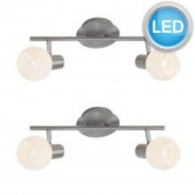 Set of 2 LED satin nickel & opal glas spotlights