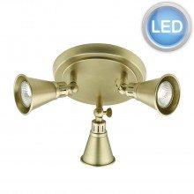 Dar Lighting EDO7675 Antique Brass 3 Light LED Spotlight
