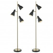 Set of 2 Black and Gold Retro Inspired Floor Lamps