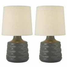 Pair of Grey 26cm Dimpled Ceramic Bedside Lamps