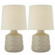 Pair of Natural 26cm Dimpled Ceramic Bedside Lamps
