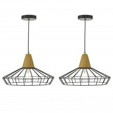 Set of 2 Black Metal Wire Ceiling Light Pendants with Wood Detail