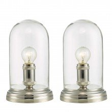 Set of 2 Clear Glass Cloche Table Lamps
