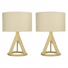 Set of 2 Wooden Tripod Table Lamps with Linen Shades