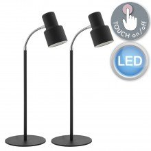 Set of 2 LED Black Touch Lamps