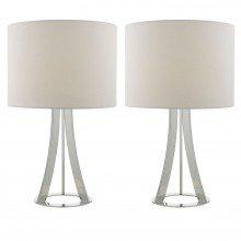 Pair of Modern Chrome Tripod Lamps White Linen Shade