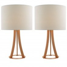 Pair of Modern Copper Tripod Lamps White Linen Shade