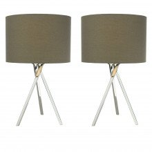 Pair of Chrome Tripod Table Lamps with Grey Linen Shades