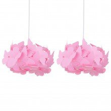 Set of 2 Pink Butterfly Easy Fit Light Shades