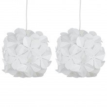 Set of 2 White Flower Easy Fit Light Shades