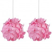 Set of 2 Pink Flower Easy Fit Light Shades