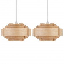 Set of 2 Natural Wood Easy Fit Light Shades